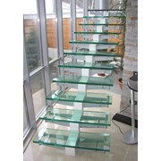 Стеклянная лестница для современных зданий фото