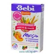 Каша Bebi Junior мол сливки мюсли персик 200г фото