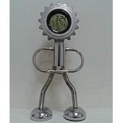 """003 Часы-будильник """"Робот"""" электронные (календарь, термометр) фото"""