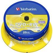 Оптический диск DVD плюс RW 4.7 Гб Verbatim 4-ск. в тубе 25шт. многократный фото