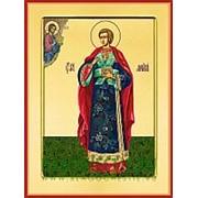 Храм Покрова Богородицы Мартирий Константинопольский, святой мученик, икона на сусальном золоте (гладкий МДФ 6 мм без ковчега) Высота иконы 10 см фото
