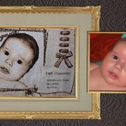 Детские метрики с фотографией ребенка (машинная вышивка) фото