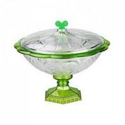 Ваза Хрусталь малая с крышкой (прозрачно-зелёный) фото