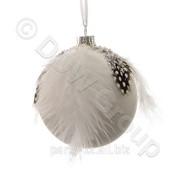 Декор Шар стекл. белый с перьями и бисером d8см 3шт,уп фото