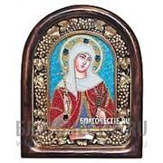 Дивеевские золотошвейные мастерские Валентина святая мученица, дивеевская икона ручной работы из бисера Высота иконы 17 см фото