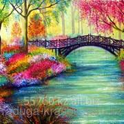 Картина стразами Мостик в цветущем парке - 40х50см фото