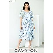 Летнее воздушное женское платье белое с голубыми цветами (2 цвета) ЮГ/-1463 фото