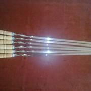Шампур с деревянной ручкой 60см, шампуры оптом от производителя в Украине, набор шампуров, шампура для шашлыка, шампура цена. фото