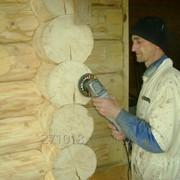 Шлифовка бревна сруба!-деревянного дома. фото