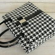 Стильная лакированная сумка-портфель черно-белая фото