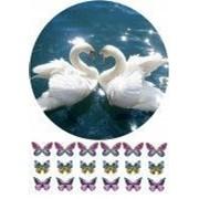 """Вафельная картинка """"Пара лебедей"""" фото"""