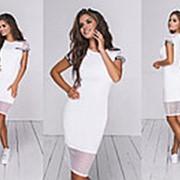 Женское комбинированное летнее платье (5 цветов) - Белый ТК/-24035 фото