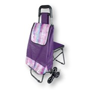 Хозяйственная сумка-тележка на 3-х колесах со стульчиком фото