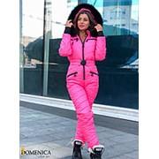 Лыжный женский комбинезон розовый с натуральным мехом DD/-1637 фото