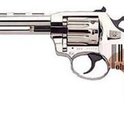 Пистолет пневматический, Револьвер ALFA 440 (никель, дерево) фото