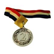 Медаль 2 место под серебро, с лаврами, d-50мм, с лентой фото