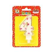 """Свеча для торта """"Цифра 4. Розовый горошек"""" Миленд, картон. уп., европодвес, С-2633 фото"""