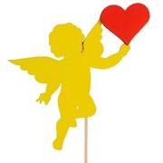 Топпер «Ангелок с сердцем», двухслойный, жёлто-красный, 11,5х9 см фото