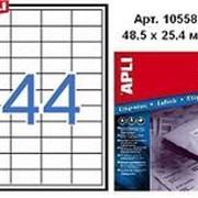 Этикетки APLI , А4, Прямоугольные 48,5 X 25,4Мм 44 Шт/Л. Неудаляемые Цвет: Белый 500 Л. фото
