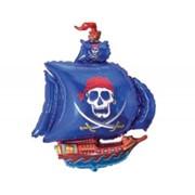 Шар фольгированный Ф М Фигура 3 Корабль пиратский синий FM фото