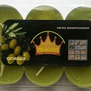 Свеча чайная АРОМА ( 8 х 12 ) \ 6 оливка фото