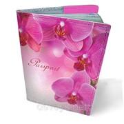 Обложка кожаная для паспорта Орхидеи фото