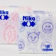 Салфетки бумажные белые с рисунком 100л фото