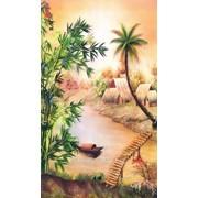 Картина стразами в 3Д Тропическая деревушка 68х100 см фото