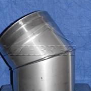"""Колено 45° позволяет менять направление дымохода на угол 45º. Устанавливается как на вертикальных, так и на горизонтальных «-» участках дымохода, соединяется с элементами системы без дополнительного крепления:""""труба в трубу"""" фото"""
