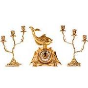Часы каминные Золотая рыбка с канделябрами на 3 свечи, набор из 3 предм. фотография