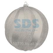 """Елочная фигура """"Шар Вихрь"""", 20 см, цвет серебряный фото"""