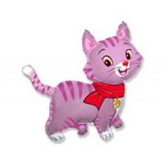 Шар фольгированный Ф Фигура 11 Кошечка с шарфом розовая FM фото