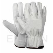 Перчатки кожаные Люкс белые фото