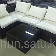 Комплект мебели из искусственного ротанга (коричневый с серыми подушками) фото