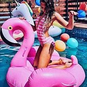 Надувной розовый фламинго 152см*105см фото