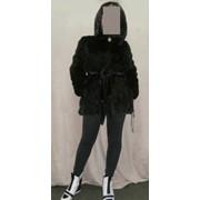 Норковая шуба-полушубок классика 85 см с капюшоном — из скандинавской норки цвета «Black» фото
