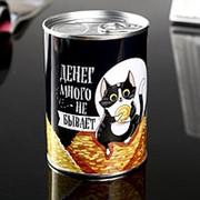 """Копилка металл банка """"Денег много не бывает"""" фото"""