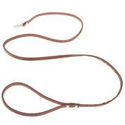 Поводок кожаный тисненый однослойный - 130 см, коричневый фото