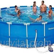 Бассейн (круглый) каркасный BestWay 56113 (549*122 см) с картриджным фильтром фото