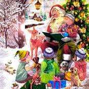 Салфетка для декупажа Дед мороз и дети. фото