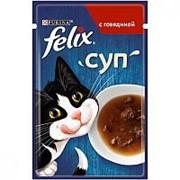 Felix 48г пауч Суп Влажный корм для взрослых кошек Говядина фото