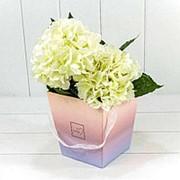 """Коробка для цветов Ваза с ручками """"Flowers"""" Градиент Розовый/Сиреневый 720118/10 фото"""