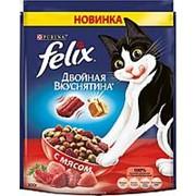 Felix 300г Двойная вкуснятина Сухой корм для взрослых кошек Мясо фото
