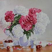 Картина живописная Пионы на столе фото