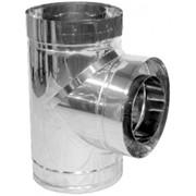 Тройник для дымохода нерж/оцинк Версия Люкс 87 D-250/320 толщ. 1 мм фото