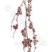 Декоративная гирлянда веточка с красн. ягодами и льдом 105см фото