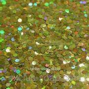 Глиттер голографический золотой-5 грамм-1 мм фото
