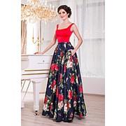 Вечернее платье в модные цветы V863 фото
