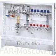 Сборный регулирующий узел для напольного отопления, с терморегулирующими и запорными вентилями, 5 отводов, в коллекторном шкафу, отводы М24х19, артикул FK 3482 C105 фото