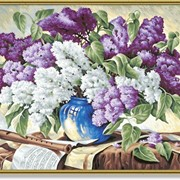 Раскраска по номерам Сирень в вазе фото